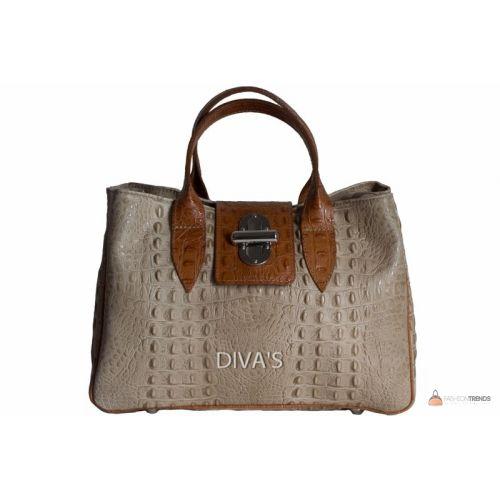 Итальянская кожаная сумка DIVAS LAURA BM11205 тауп с коньячным