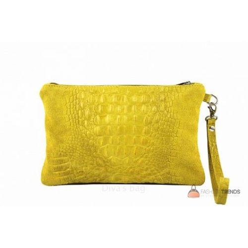 Итальянский замшевый клатч DIVAS Pollie 601 желтый