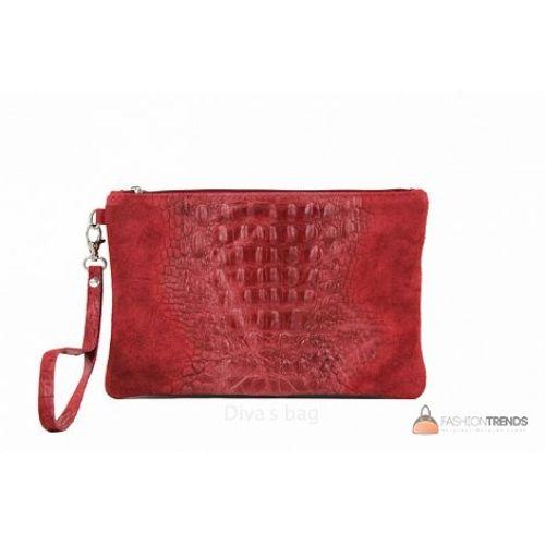 Итальянский замшевый клатч DIVAS Pollie 601 красный