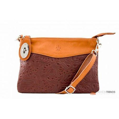 Итальянская кожаная сумка DIVAS Fiorella TR939 коричневая с коньячным