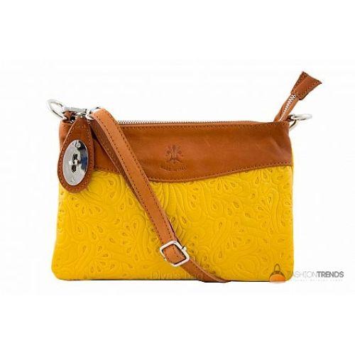 Итальянская кожаная сумка DIVAS Fiorella TR939 желтая