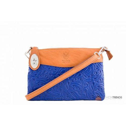 Итальянская кожаная сумка DIVAS Fiorella TR939 голубая с коньячным