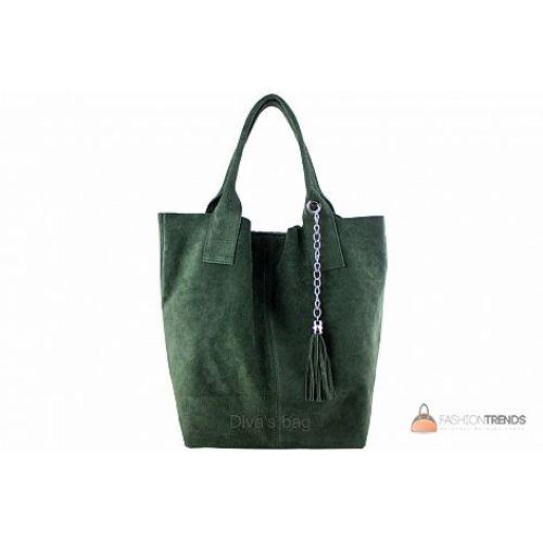 Итальянская замшевая сумка DIVAS ARIANNA S6813 темно-зеленая