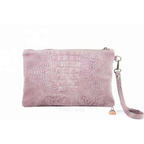 Итальянский замшевый клатч DIVAS Pollie 601 розовый