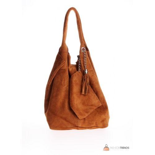 Итальянская замшевая сумка DIVAS ARIANNA S6813 коньячная