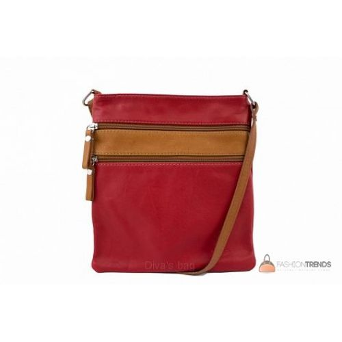 Итальянская кожаная сумка DIVAS Tamara TR938 красная с коньячным
