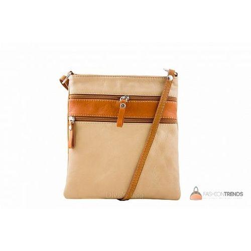 Итальянская кожаная сумка DIVAS Tamara TR938 тауп с коньячным