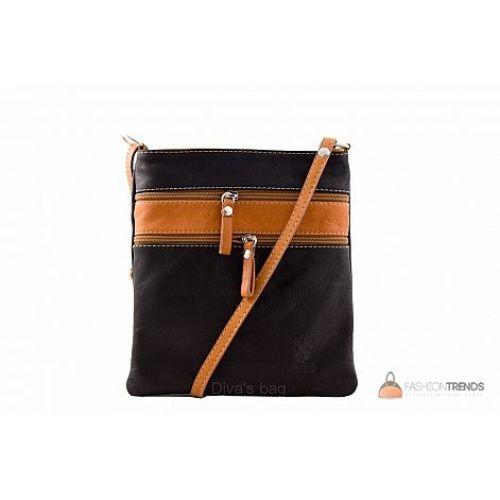 Итальянская кожаная сумка DIVAS Tamara TR938 черная с коньячным
