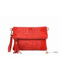 Итальянский замшевый клатч DIVAS Tecla TR973 красный