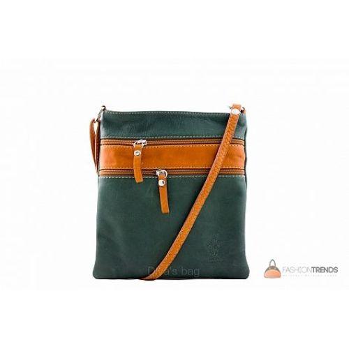 Итальянская кожаная сумка DIVAS Tamara TR938 зеленая с коньячным