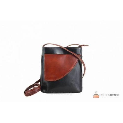 Итальянская кожаная сумка DIVAS Dotty TR964 черная с коричневым