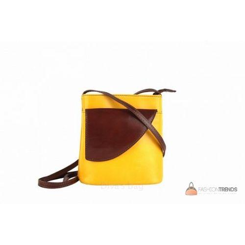 Итальянская кожаная сумка DIVAS Dotty TR964 желтая