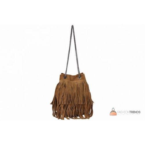 Итальянская замшевая сумка DIVAS Naima TR977 коньячная