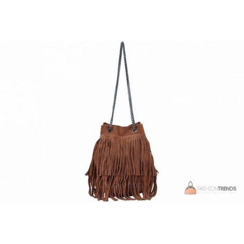 Итальянская замшевая сумка DIVAS Naima TR977 коричневая