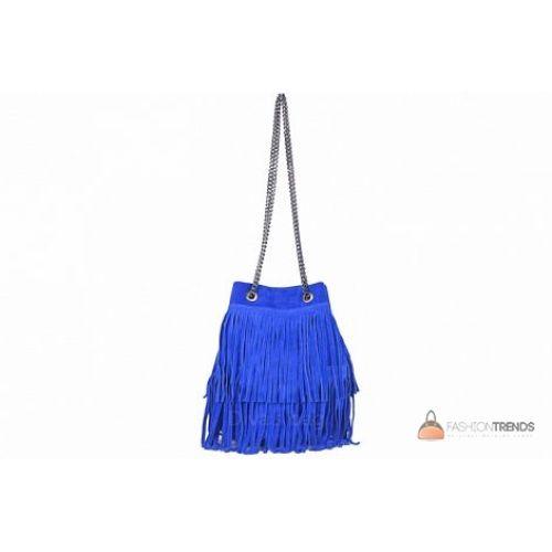 Итальянская замшевая сумка DIVAS Naima TR977 ярко-синяя