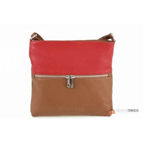 Итальянская кожаная сумка DIVAS Josslyn TR997 коньячная с красным