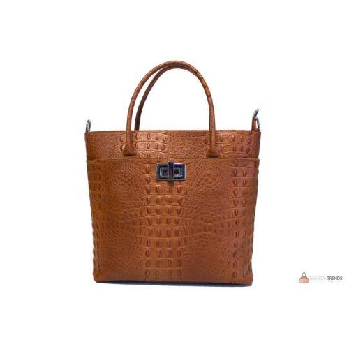 Итальянская кожаная сумка DIVAS CAROLINA S6815 коньячная