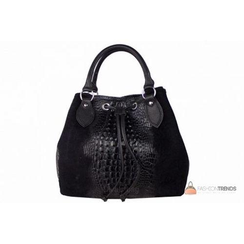 Итальянская замшевая сумка DIVAS Flaminia S7005 черная