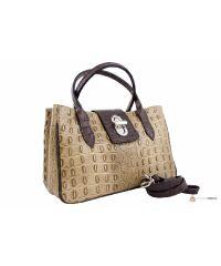 Итальянская кожаная сумка DIVAS NARCISA М8904 тауп с коричневым