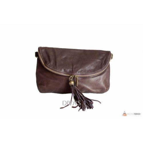 Итальянская кожаная сумка DIVAS SABINE TR928 темно-коричневая