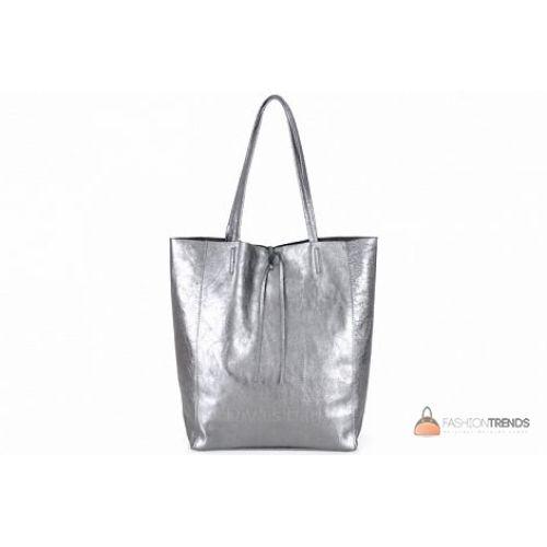 Итальянская кожаная сумка DIVAS Solange S7080 серебристая