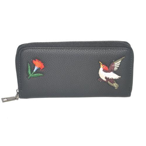 Женский кошелек с аппликацией Птичка 01545954107513black черный