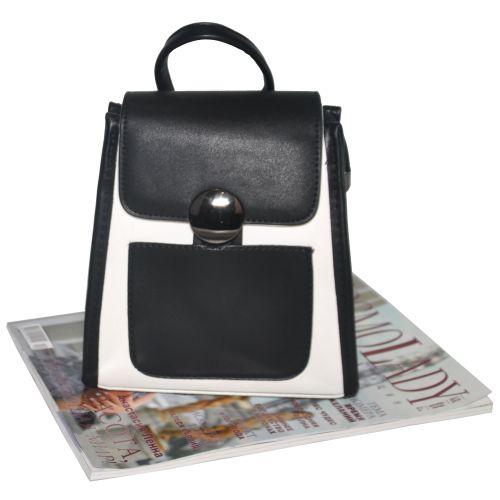 Мини рюкзак с карманом 01551745053364white белый с черным