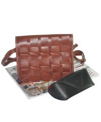 Женская сумка плетеная 01527922716172dark-brown темно-коричневая