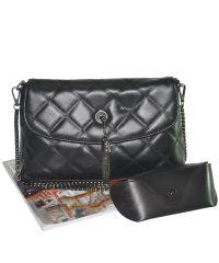 Женская сумка стеганая с кисточкой 01522617739259black черная