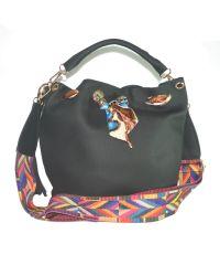 Женская сумка мешочек с лентой 01544984920087black черная