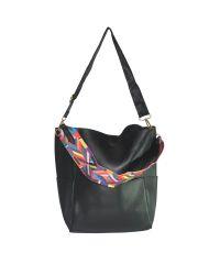 Женская сумка хобо с разноцветным ремнем 01537780709975black черная