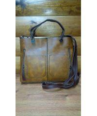 Женская сумка с двумя карманами 01538971049535brown коричневая
