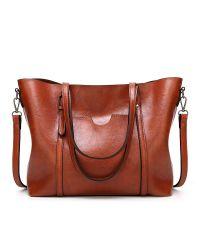 Женская сумка с карманом 01550476632328brown коричневая