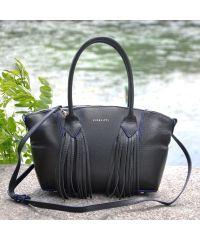 Кожаная сумка Bordo черная с синим