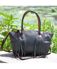 Кожаная сумка Bordo черная с красным