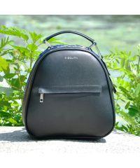 Кожаный рюкзак Fidelta черный с синим