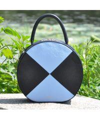 Кожаная сумка Tondo черная с голубым
