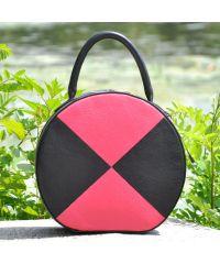Кожаная сумка Tondo черная с малиновым