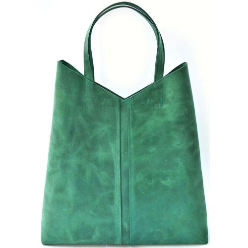 Кожаная сумка-пакет B.0005-ALI зеленая