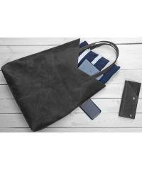 Кожаная сумка-пакет B.0005-CH черная