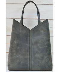 Кожаная сумка-пакет B.0005-CH серая