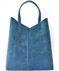 Кожаная сумка-мешок B.0005-CH синяя