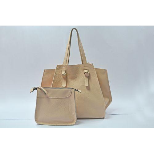 Кожаная сумка B.0007-ALI бежевая