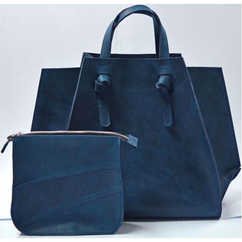 Кожаная сумка B.0007-CH темно-синяя