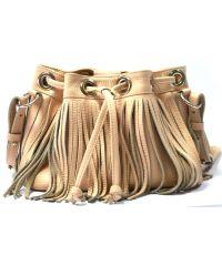 Кожаная сумка с бахромой B.0016 Nude бежевая