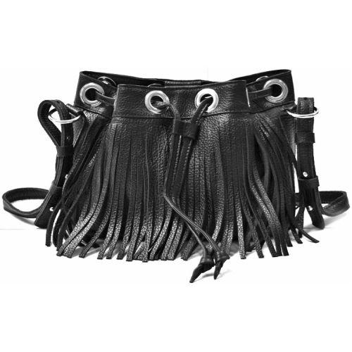 Кожаная сумка с бахромой B.0016 черная