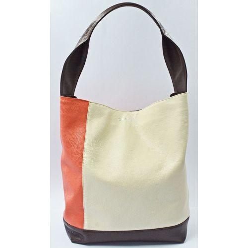 Кожаная сумка B.0015-1 GBAGS молочная