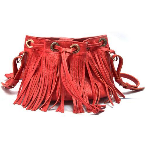 Кожаная сумка с бахромой B.0016 красная