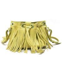 Кожаная сумка с бахромой B.0016 желтая