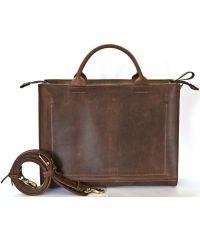 Кожаная сумка B002 коричневая